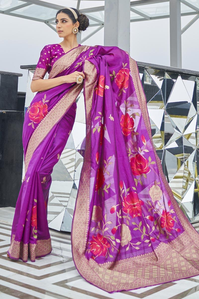 Purple Color Festive Wear Trendy Art Silk Fabric Weaving Work Saree