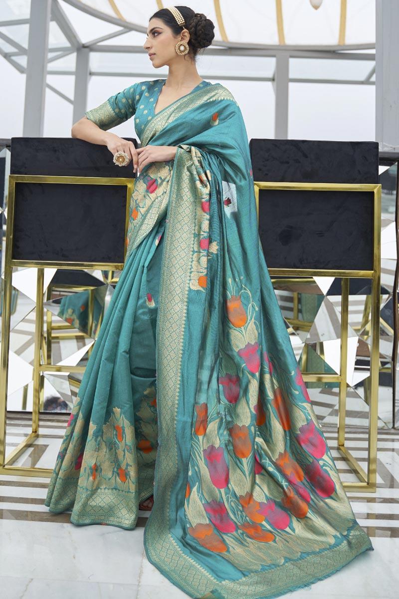 Art Silk Fabric Festive Wear Trendy Cyan Color Weaving Work Saree