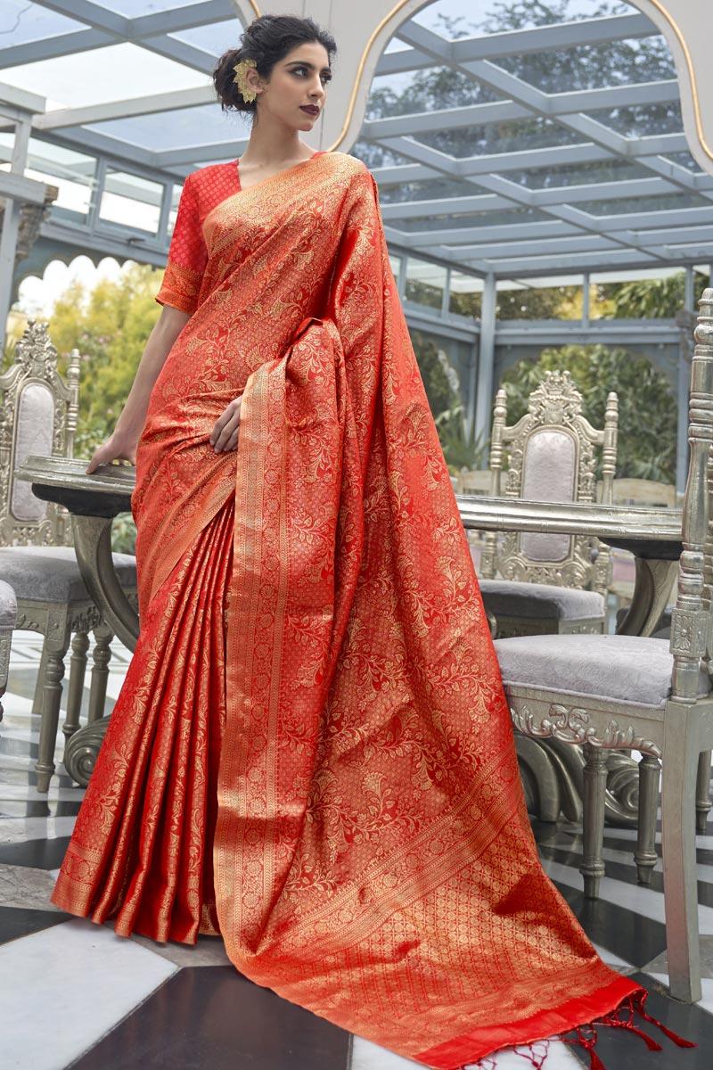 Red Color Sangeet Wear Art Silk Fabric Handloom Weaving Work Saree