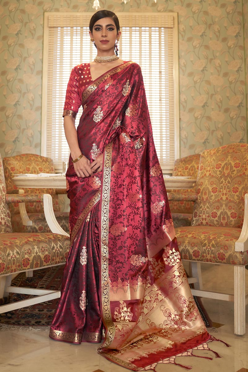 Maroon Color Party Wear Satin Fabric Chic Weaving Work Saree