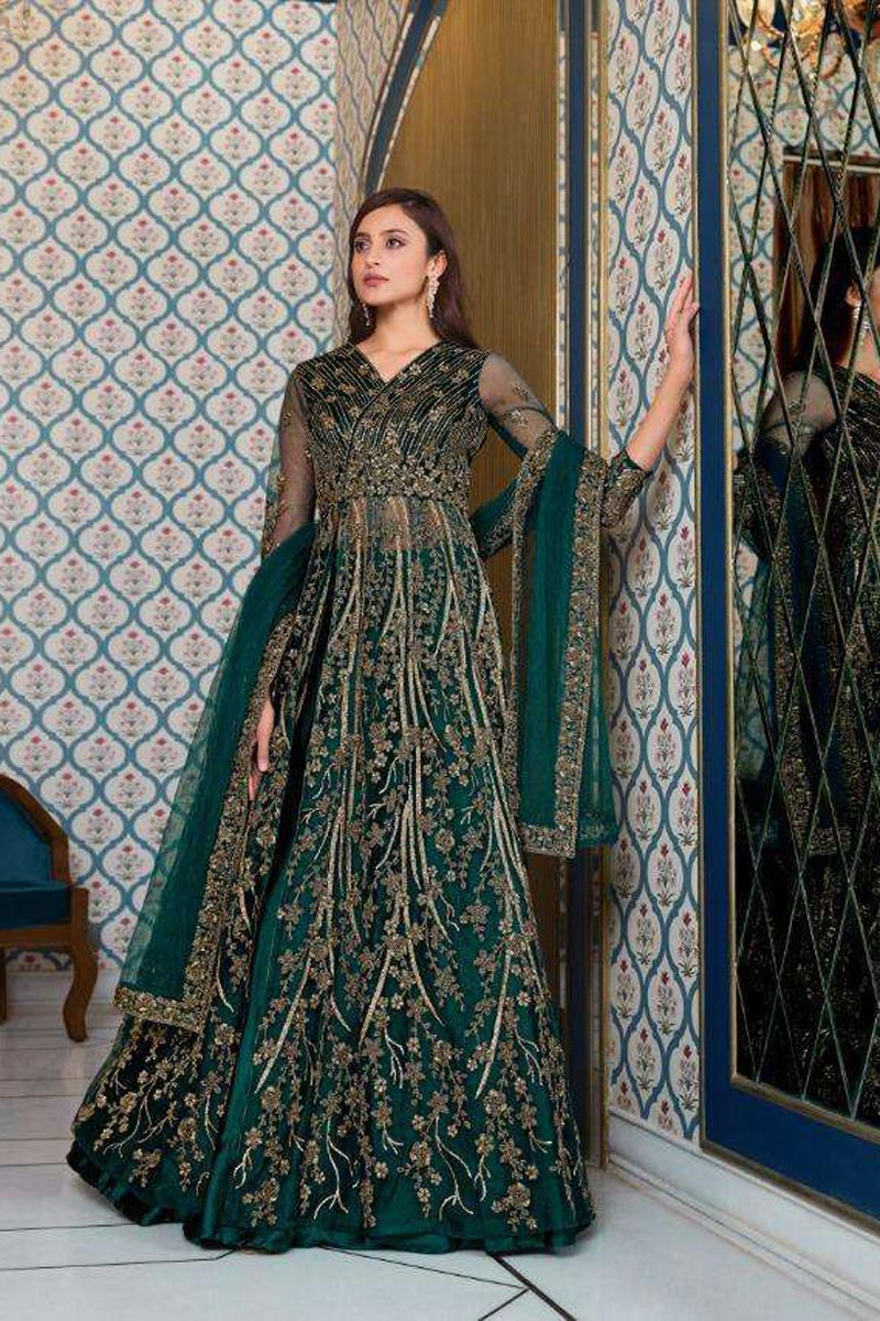 Function Wear Embroidered Teal Color Anarkali Dress In Net Fabric