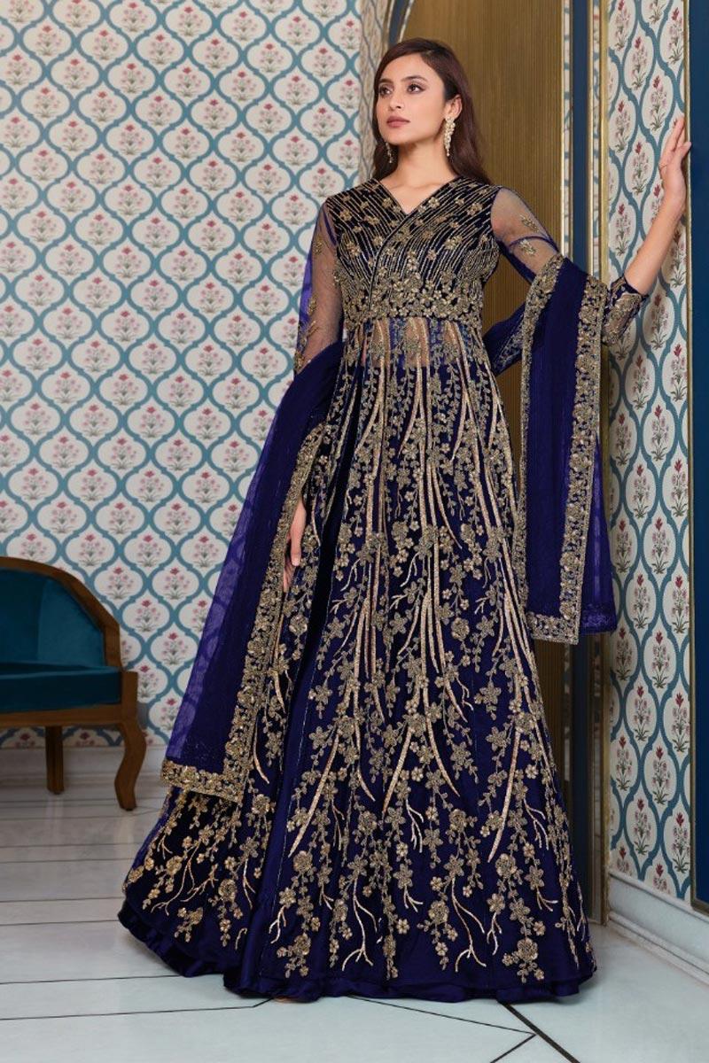 Net Fabric Festive Wear Navy Blue Color Embroidered Anarkali Suit