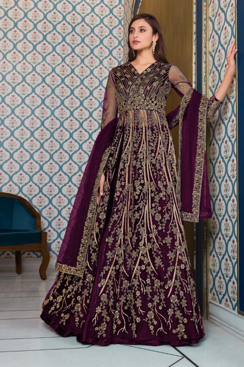 Sangeet Wear Purple Color Net Fabric Embroidered Anarkali Suit