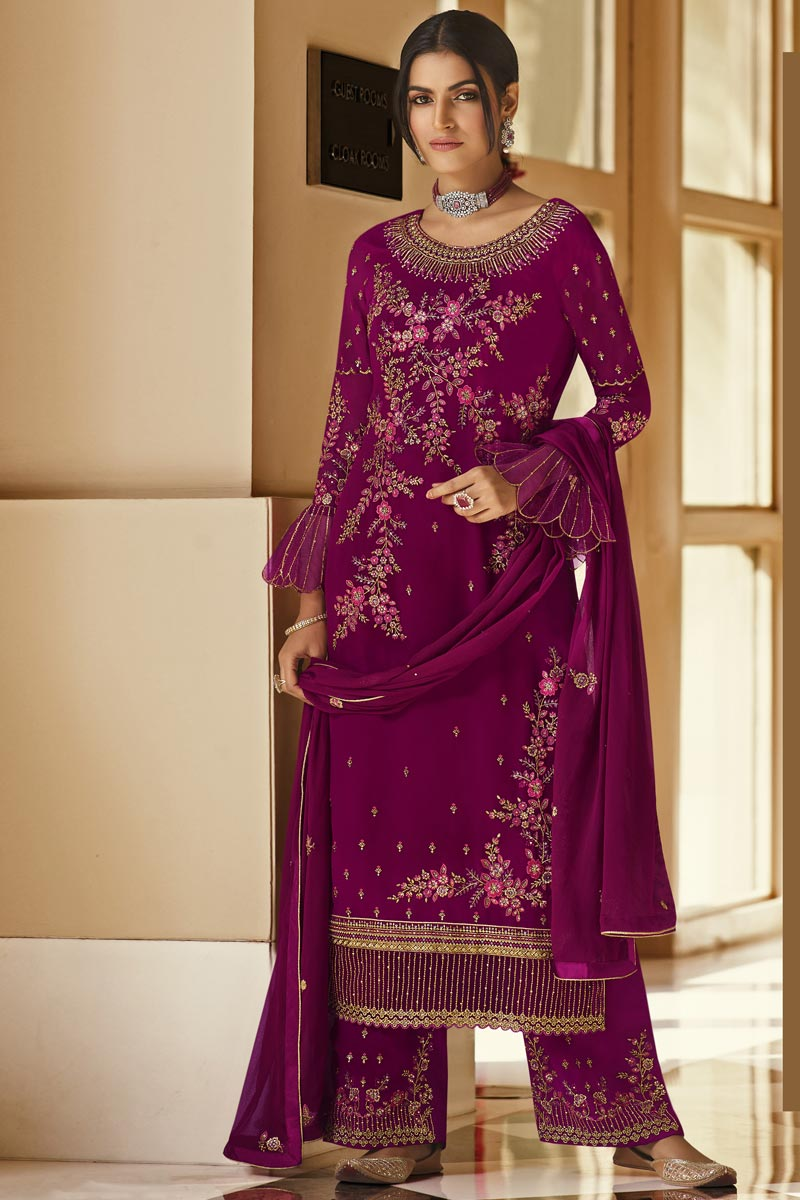 Burgundy Color Festive Wear Embroidered Georgette Fabric Palazzo Suit