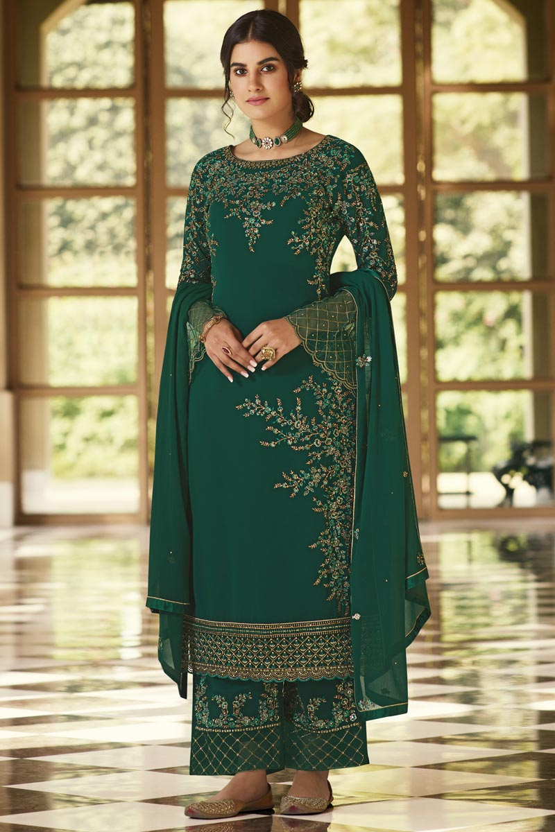 Green Color Function Wear Embroidered Georgette Fabric Palazzo Dress