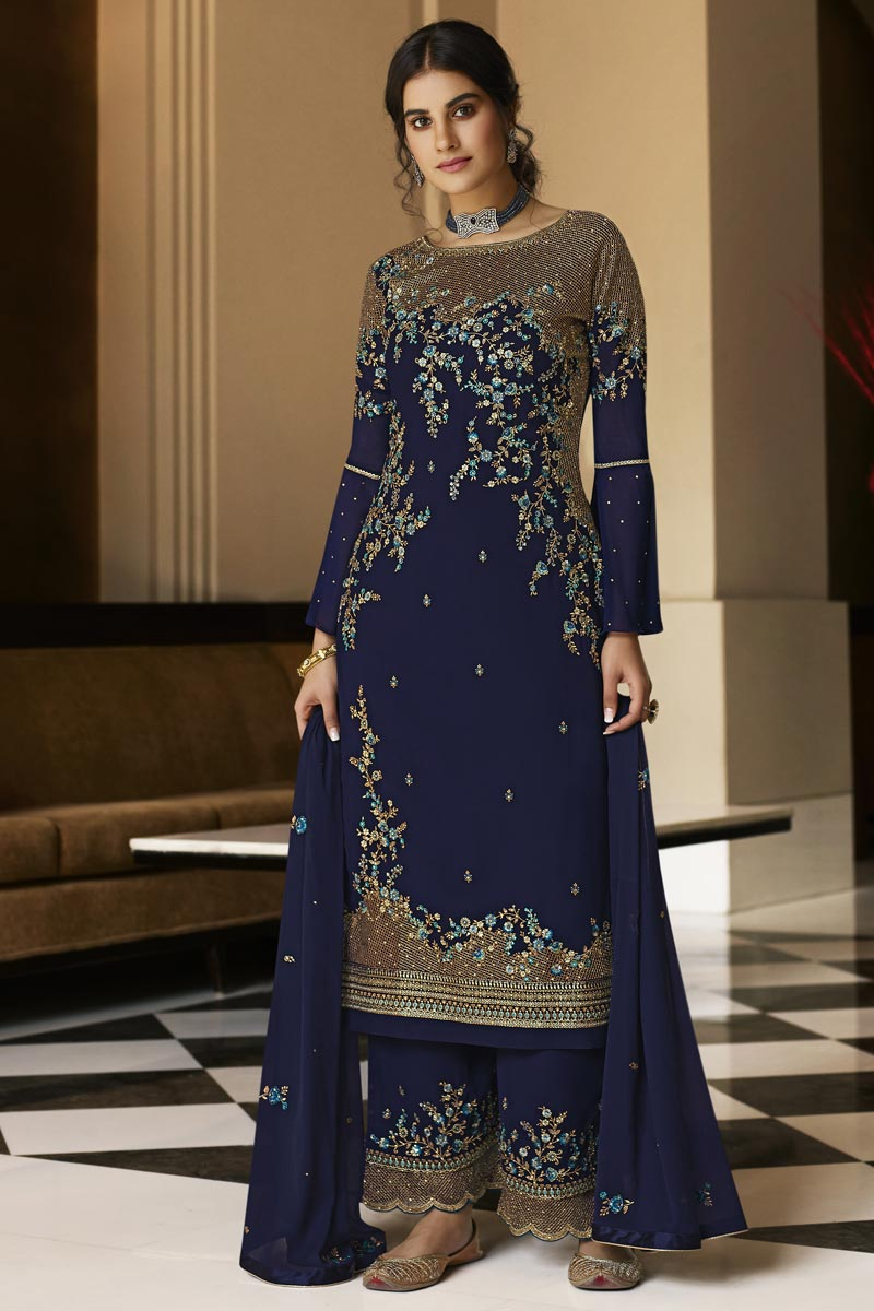 Georgette Fabric Festive Wear Navy Blue Color Embroidered Palazzo Suit