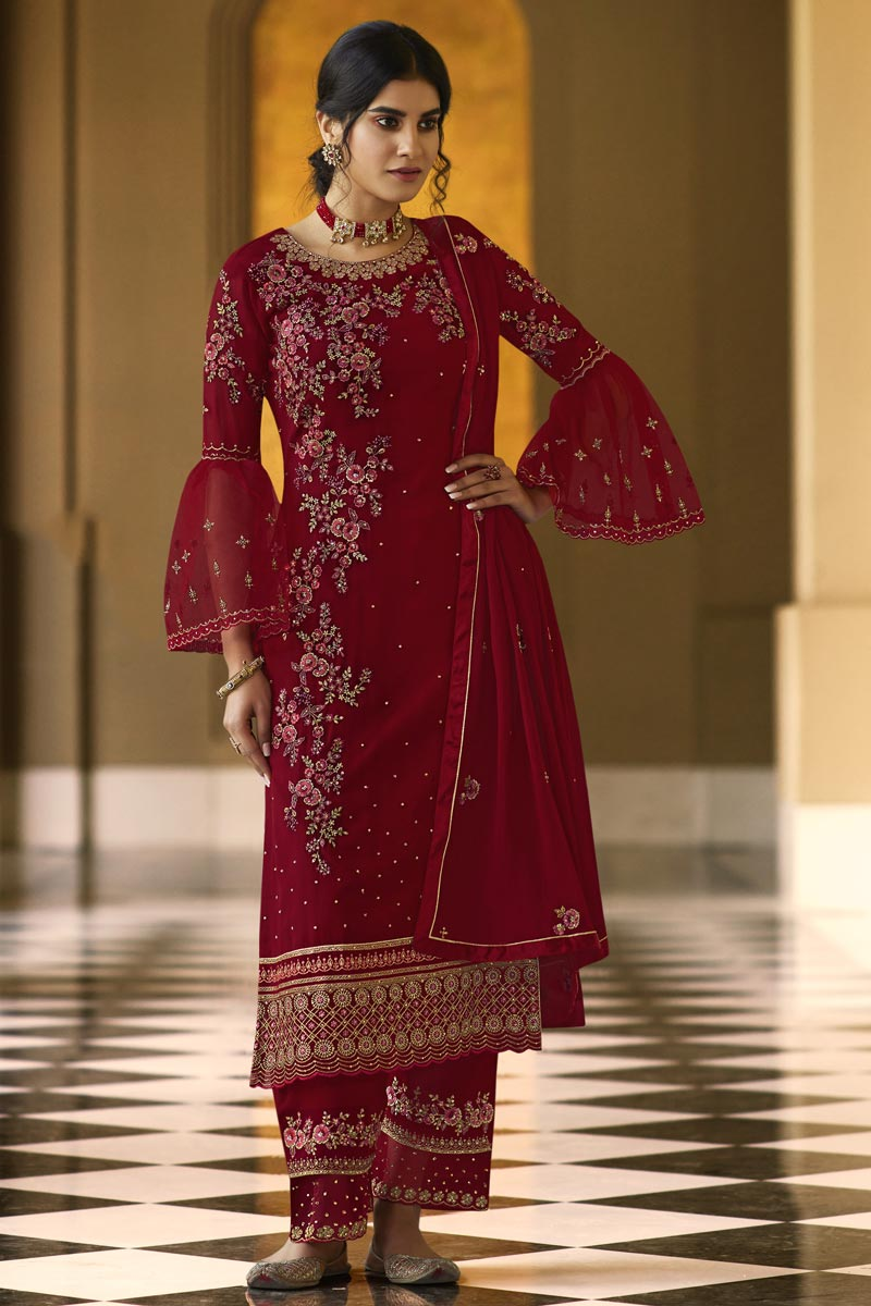 Maroon Color Georgette Fabric Function Wear Embroidered Palazzo Dress