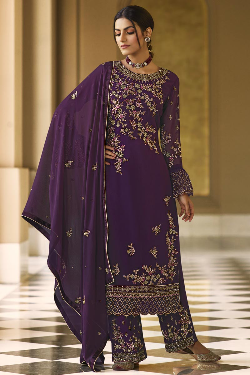 Georgette Fabric Festive Wear Embroidered Palazzo Dress In Purple Color