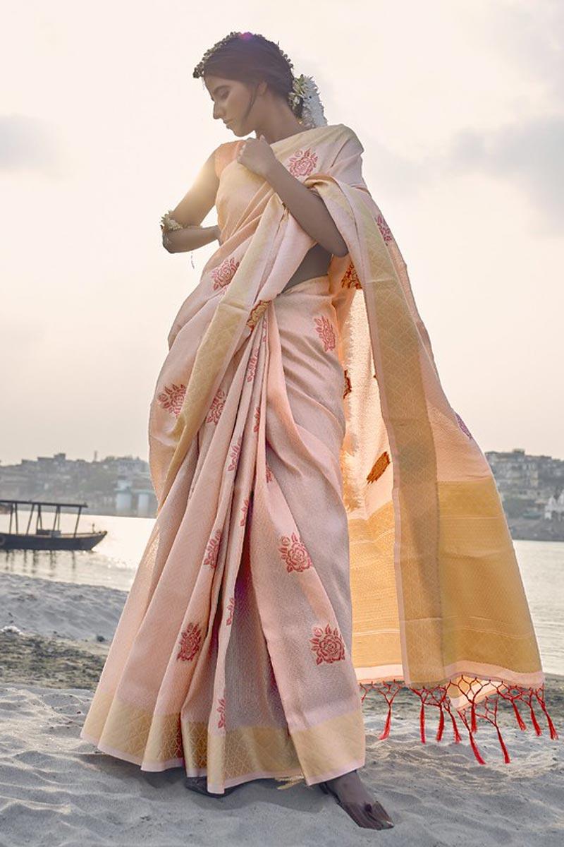 Festive Wear Peach Color Weaving Work Saree In Art Silk Fabric
