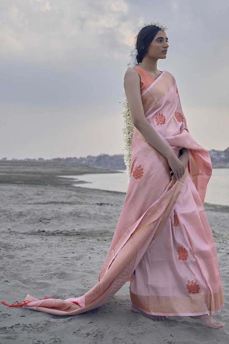 Sangeet Wear Pink Color Weaving Work Saree