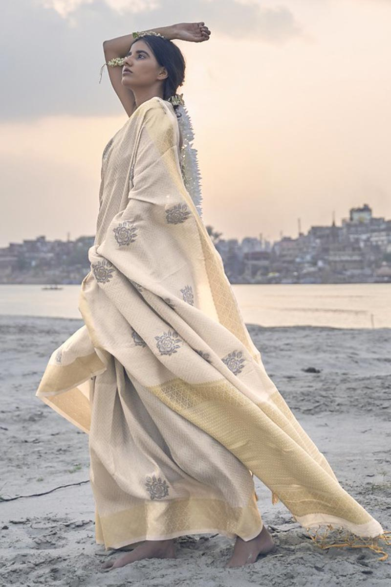Cream Color Party Wear Art Silk Fabric Weaving Work Saree