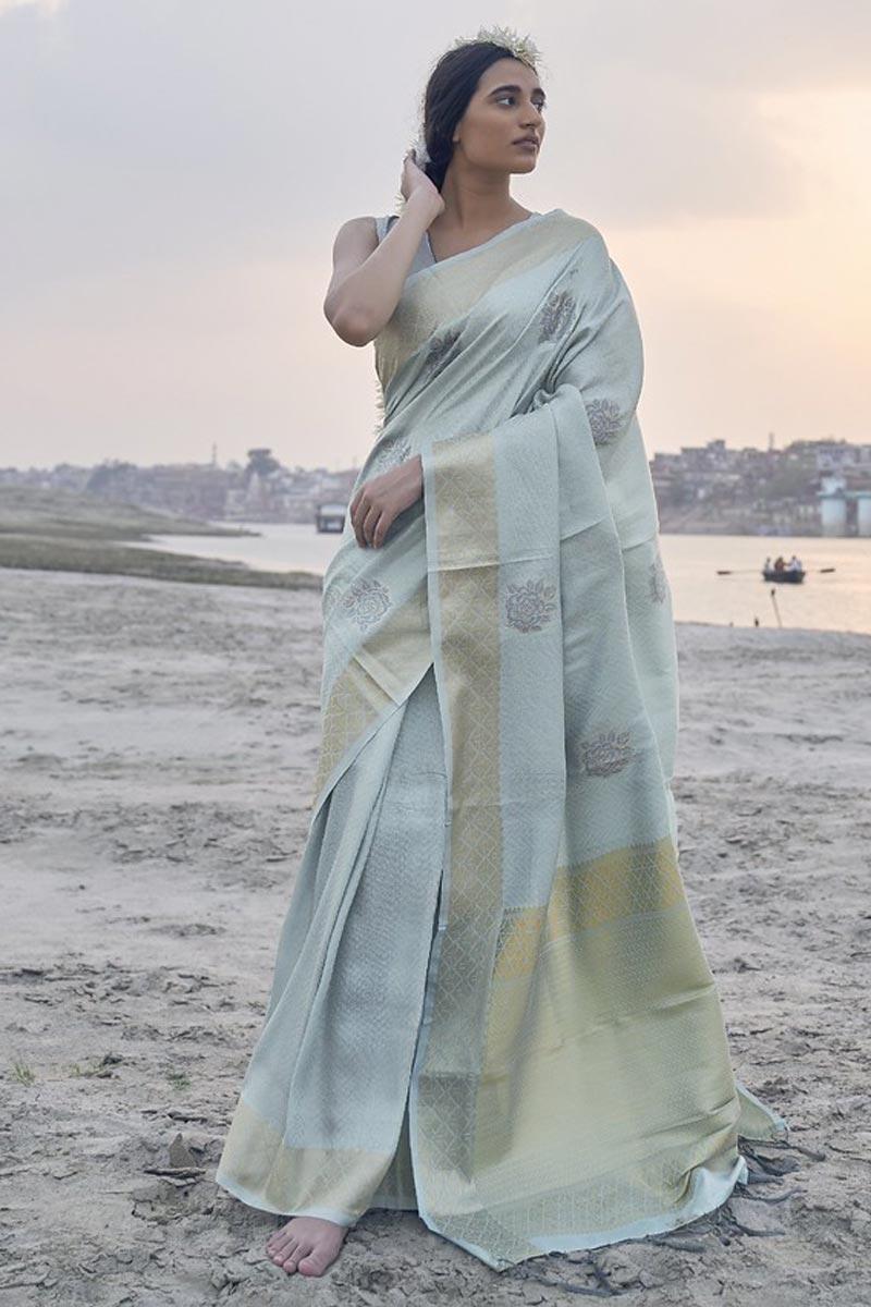 Art Silk Fabric Reception Wear Light Cyan Color Weaving Work Saree
