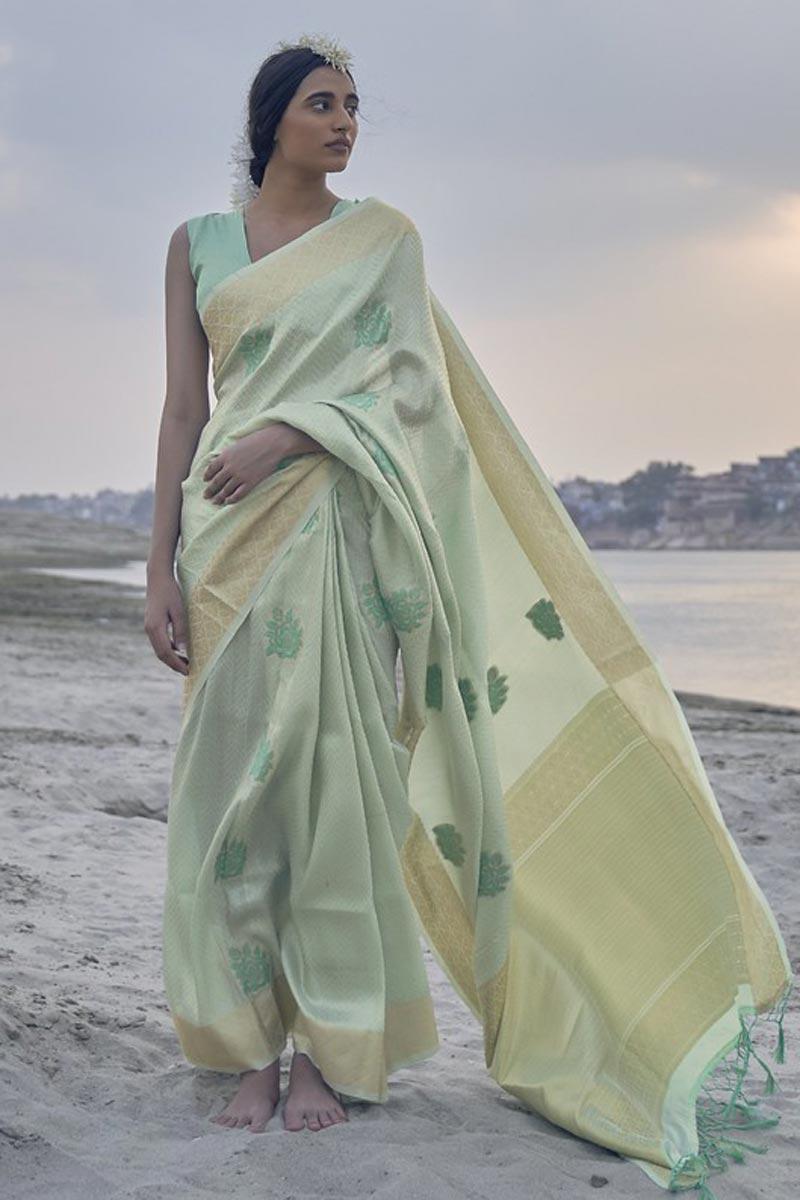 Function Wear Art Silk Fabric Sea Green Color Weaving Work Saree