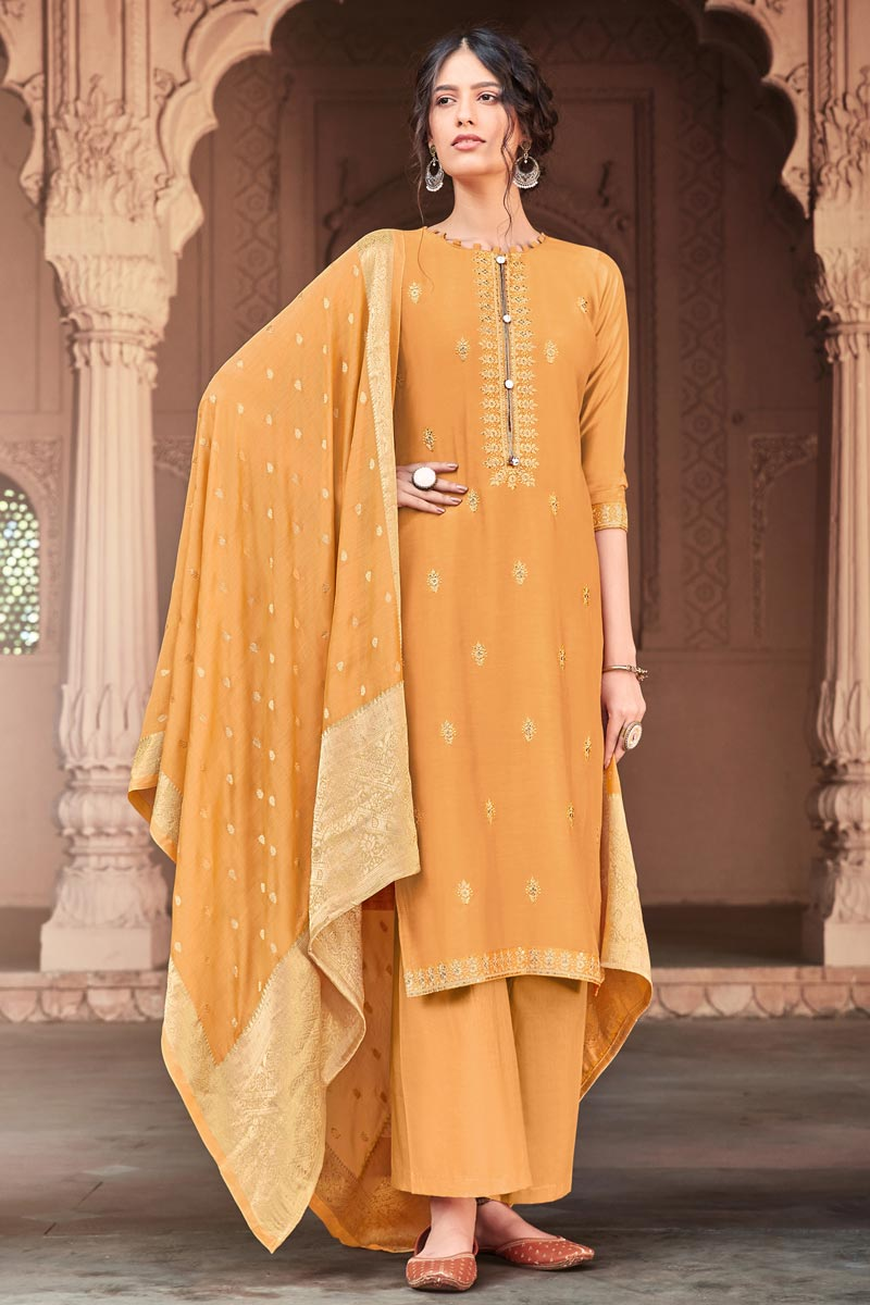 Mustard Color Festive Wear Fancy Embroidered Viscose Fabric Palazzo Suit