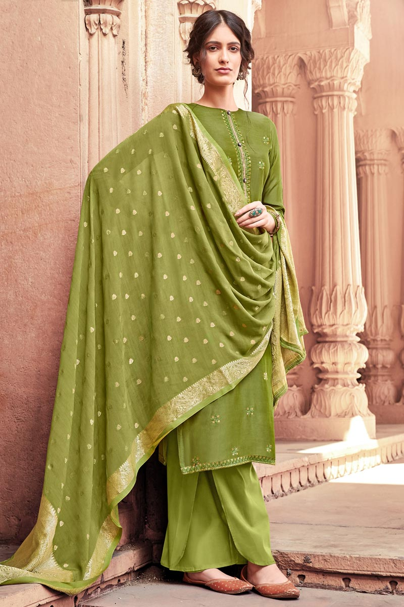 Green Color Function Wear Fancy Embroidered Viscose Fabric Palazzo Dress