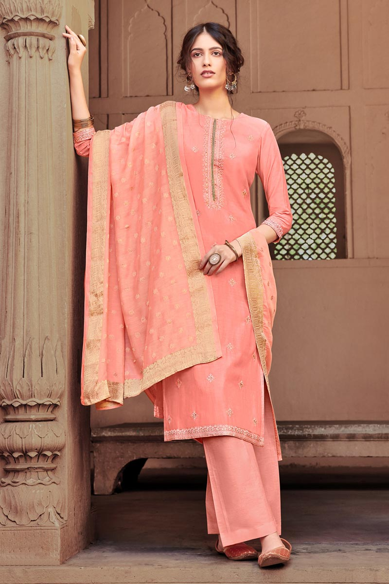Viscose Fabric Festive Wear Peach Color Fancy Embroidered Palazzo Suit