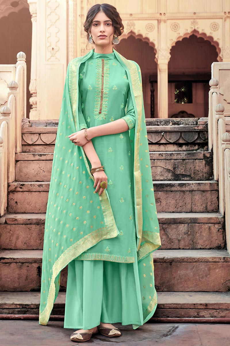Sea Green Color Viscose Fabric Function Wear Fancy Embroidered Palazzo Dress