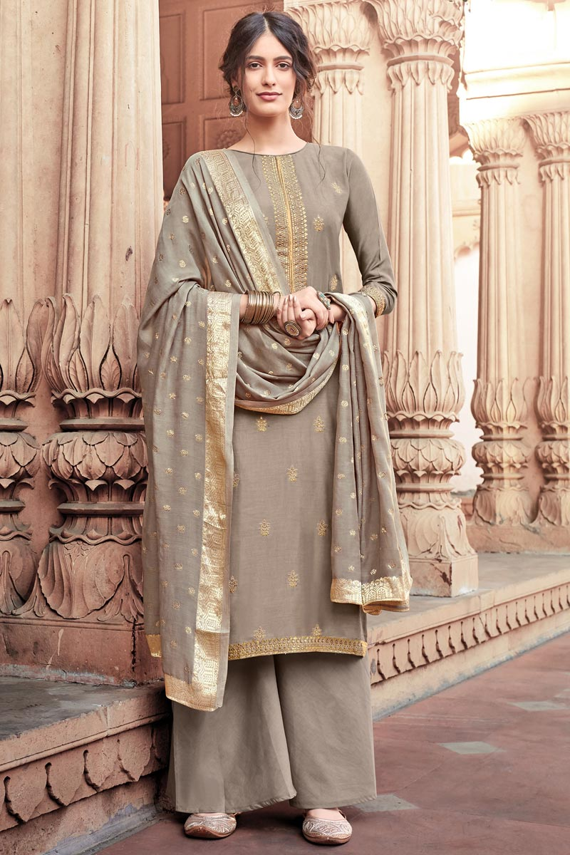 Function Wear Viscose Fabric Dark Beige Color Fancy Embroidered Palazzo Suit