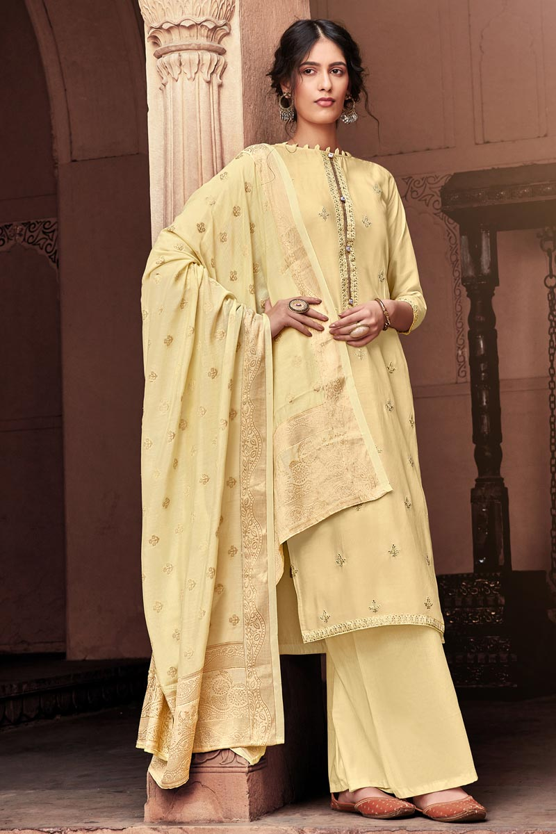 Viscose Fabric Festive Wear Fancy Embroidered Beige Color Palazzo Suit