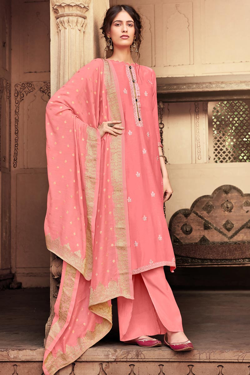 Viscose Fabric Function Wear Fancy Embroidered Pink Color Palazzo Dress