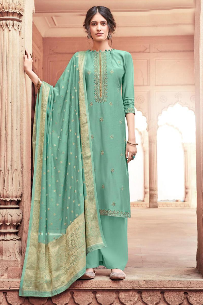 Festive Wear Fancy Embroidered Viscose Fabric Palazzo Suit In Sea Green Color