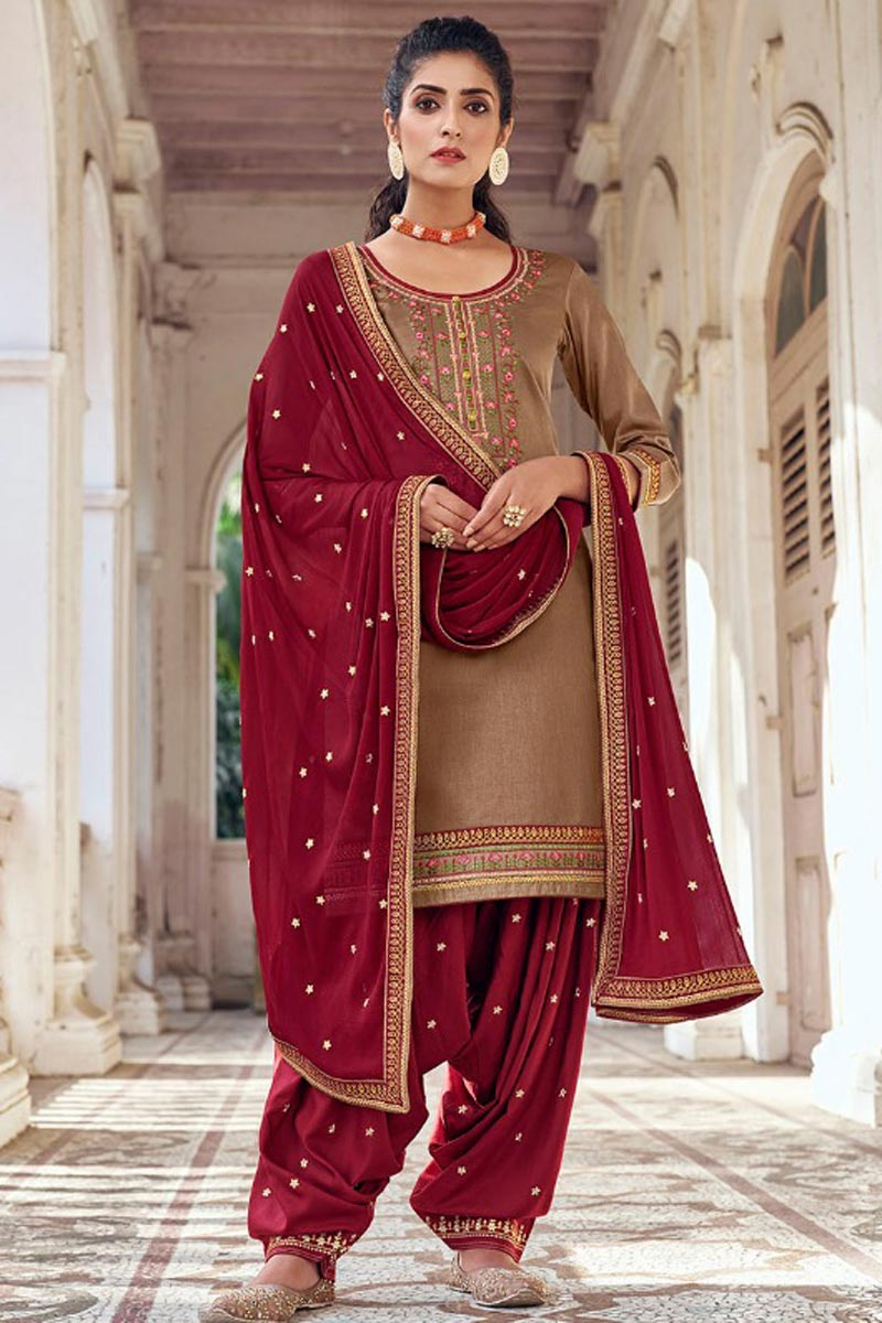Chikoo Color Chic Festive Wear Embroidered Patiala Suit In Art Silk Fabric