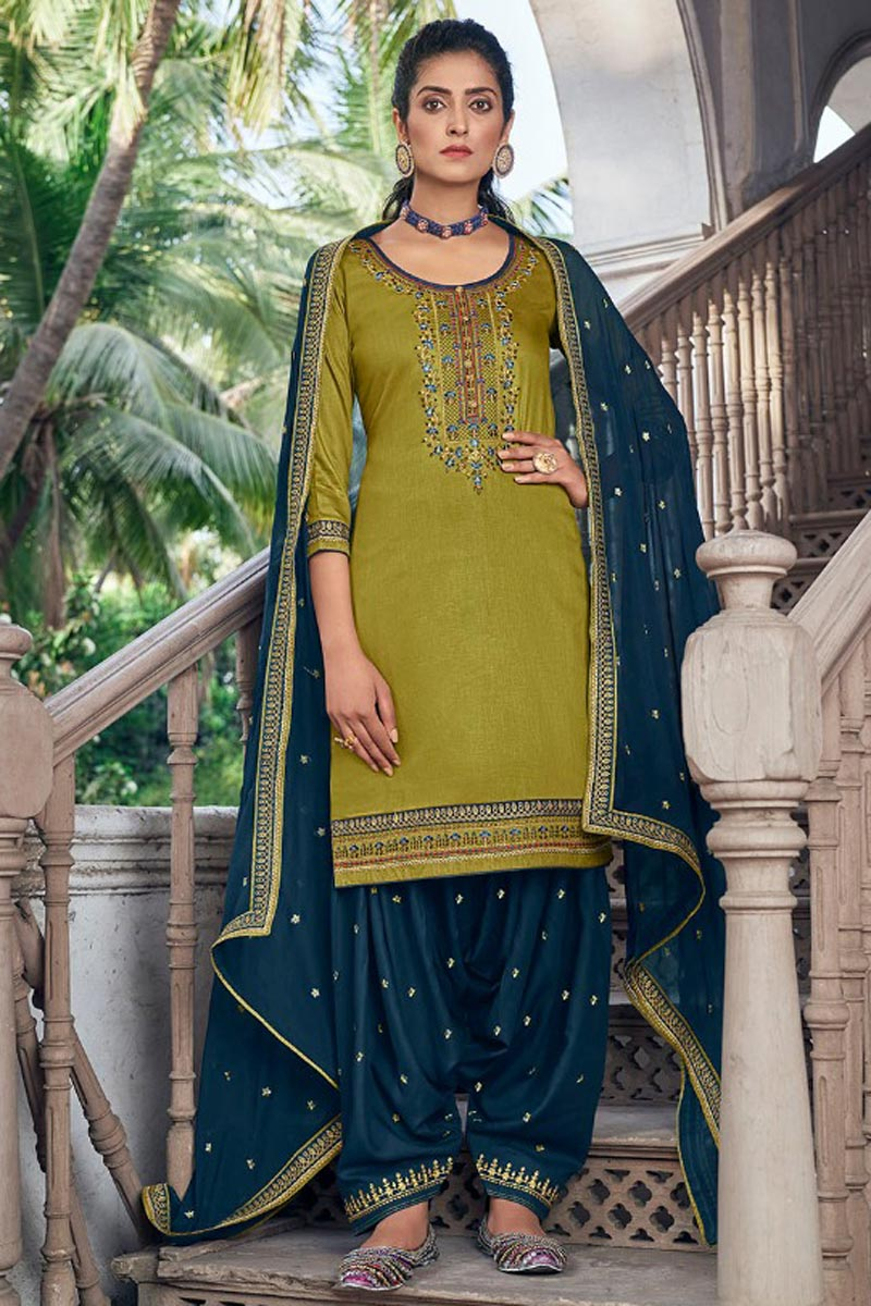 Green Color Chic Embroidered Patiala Dress