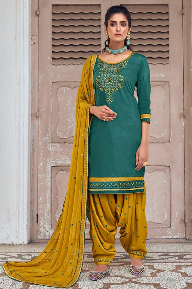 Festive Wear Teal Color Chic Art Silk Fabric Embroidered Patiala Suit