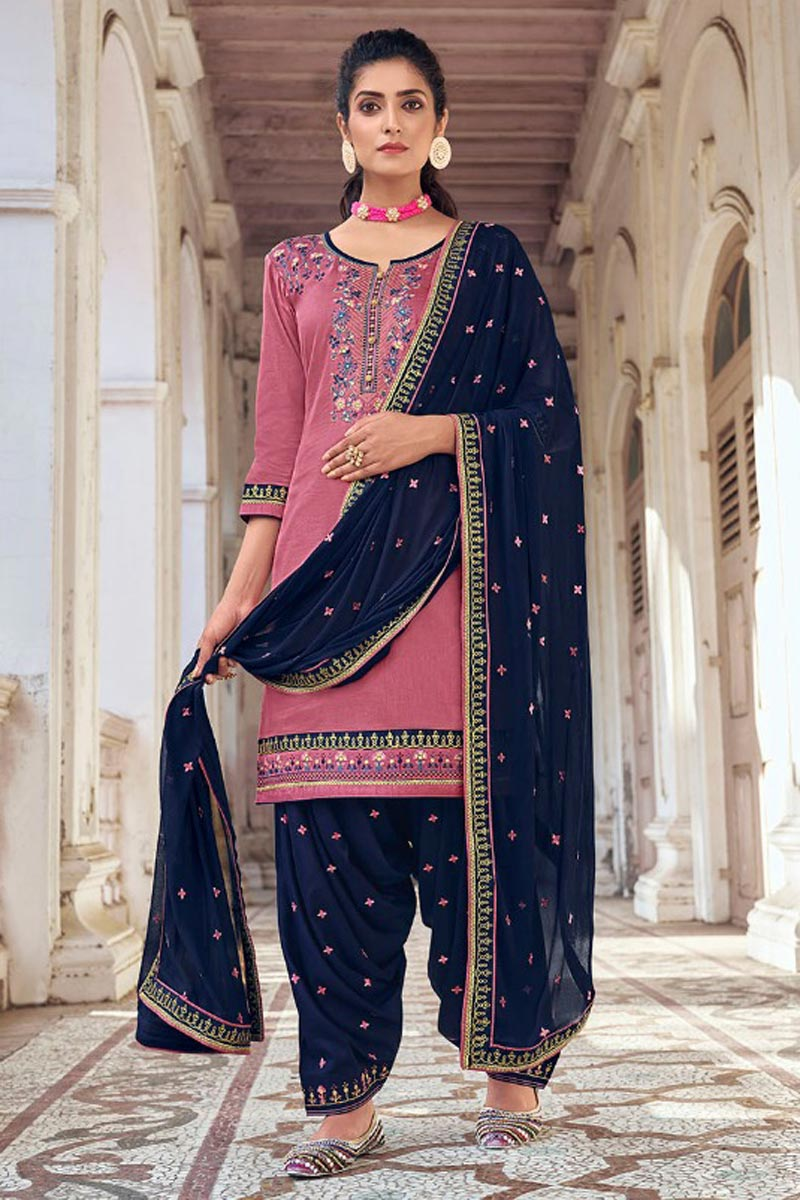 Art Silk Fabric Festive Wear Chic Embroidered Patiala Dress In Pink Color