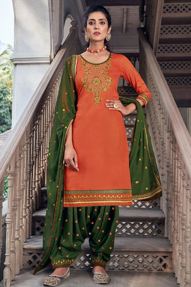 Chic Festive Wear Orange Color Embroidered Patiala Suit In Art Silk Fabric