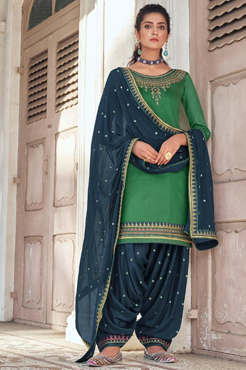 Festive Wear Art Silk Fabric Chic Embroidered Green Color Patiala Dress