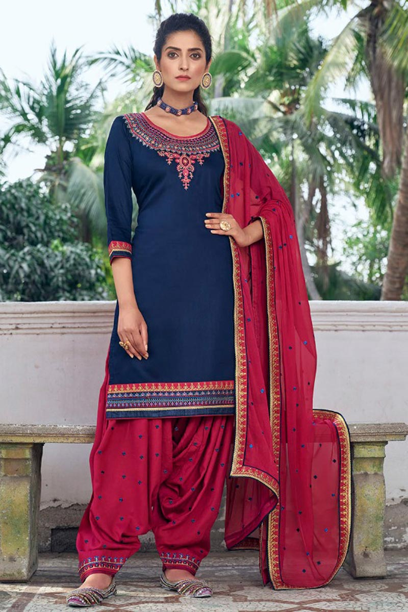 Navy Blue Color Festive Wear Art Silk Fabric Chic Embroidered Patiala Dress