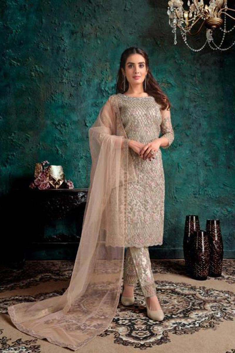 Function Wear Cream Color Embroidered Straight Cut Suit In Net Fabric