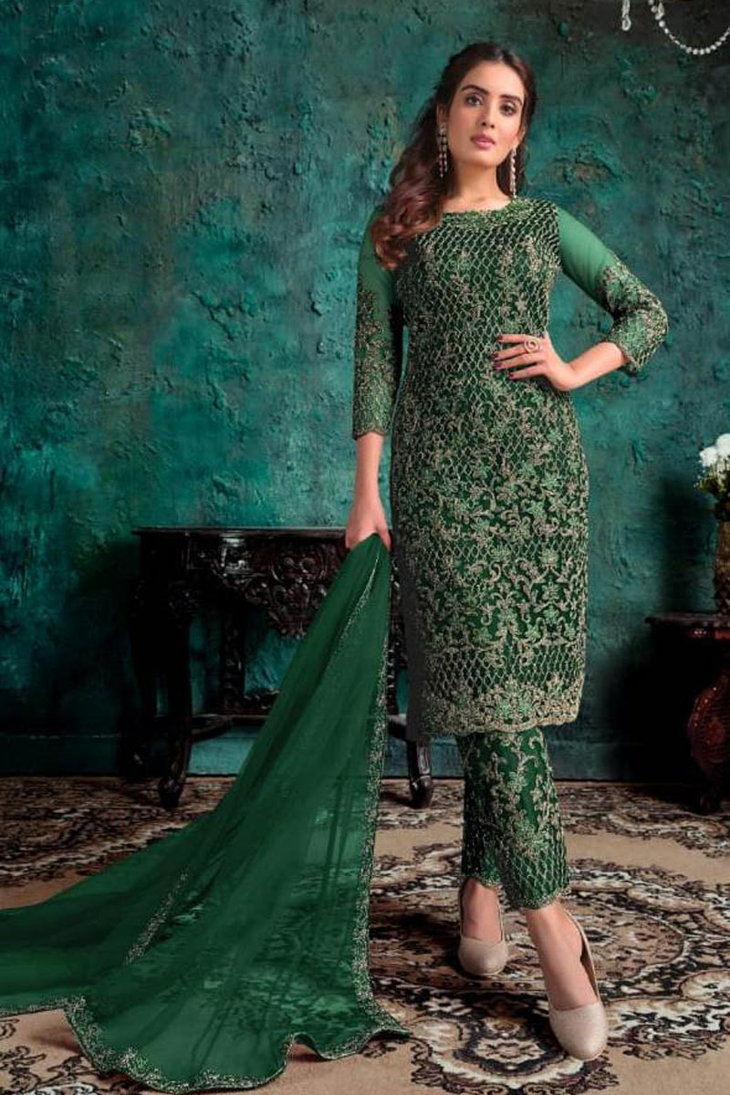 Green Color Festive Wear Embroidered Net Fabric Straight Cut Dress