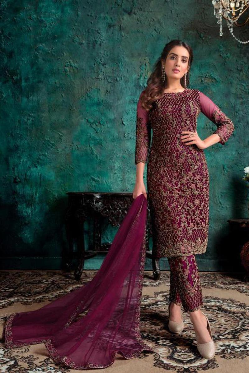 Wine Color Party Wear Embroidered Straight Cut Suit In Net Fabric