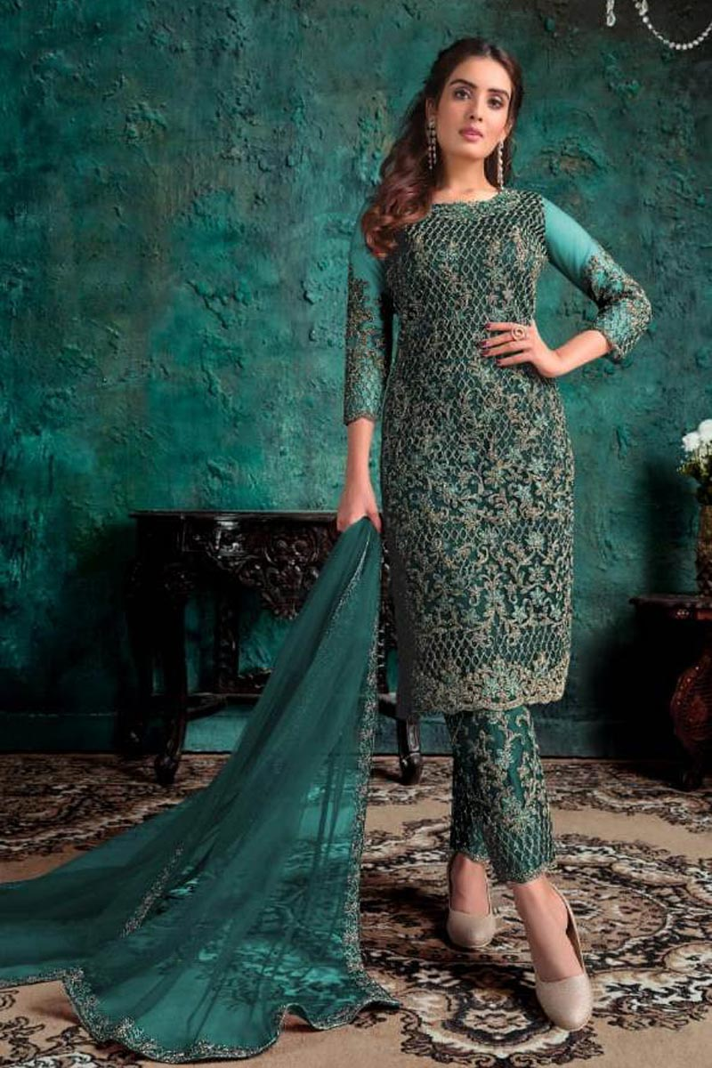 Sangeet Wear Teal Color Net Fabric Embroidered Straight Cut Dress