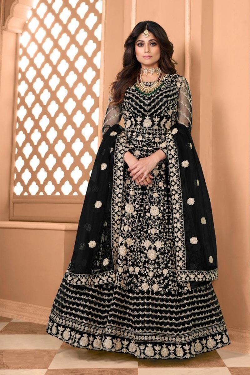 Shamita Shetty Sangeet Wear Net Fabric Embroidered Anarkali Dress In Black Color
