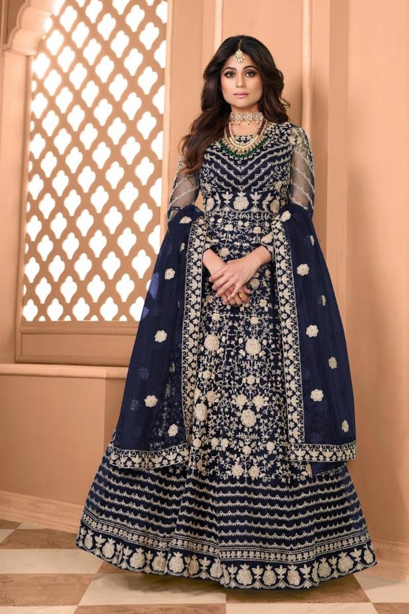 Shamita Shetty Net Fabric Navy Blue Color Sangeet Wear Embroidered Long Anarkali Suit