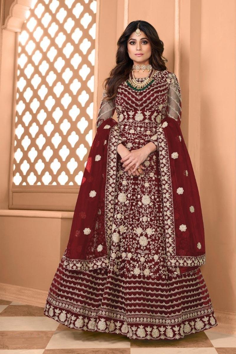 Shamita Shetty Sangeet Wear Maroon Color Net Fabric Embroidered Long Anarkali Suit