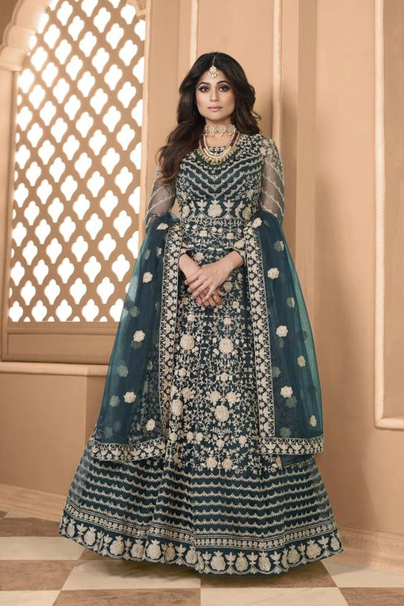 Shamita Shetty Net Fabric Sangeet Wear Embroidered Teal Color Long Anarkali Suit