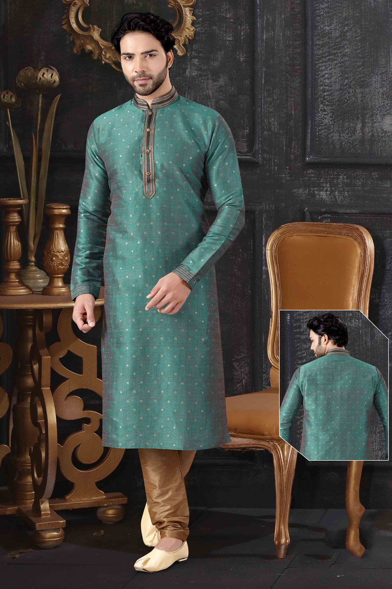 Teal Color Mens Wear Kurta Pyjama In Jacquard Fabric
