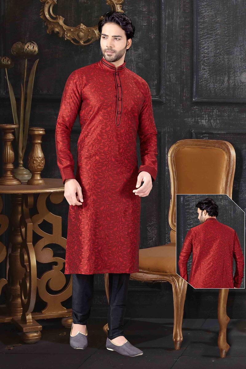 Maroon Color Jacquard Fabric Designer Kurta Pyjama For Men