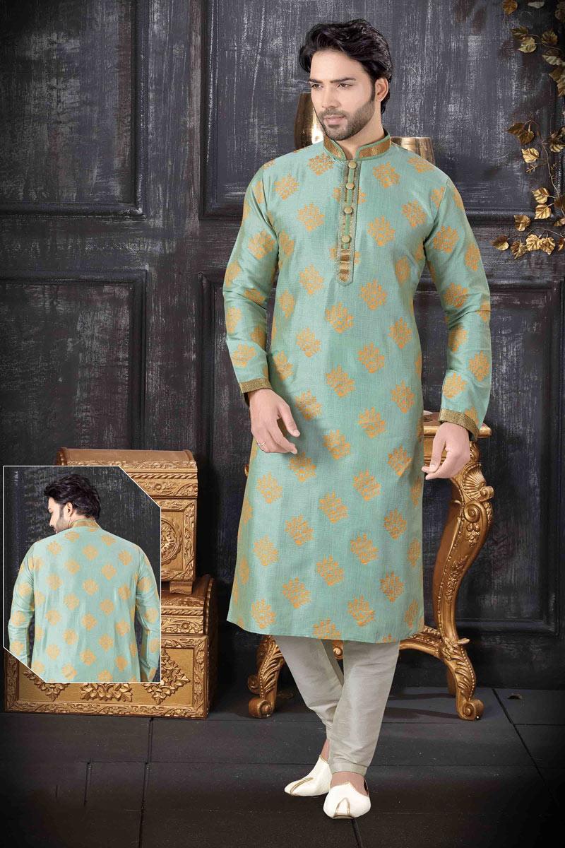 Eid Special Art Silk Fabric Light Cyan Color Function Wear Kurta Pyjama For Men