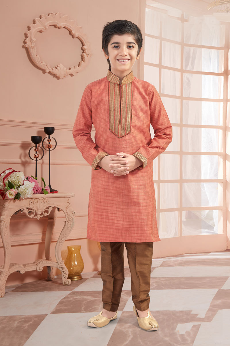 Art Silk Fabric Kurta Pyjama Set For Boys In Salmon Color