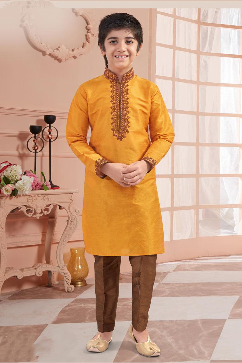 Orange Color Art Silk Fabric Function Wear Boys Kurta Pyjama Set