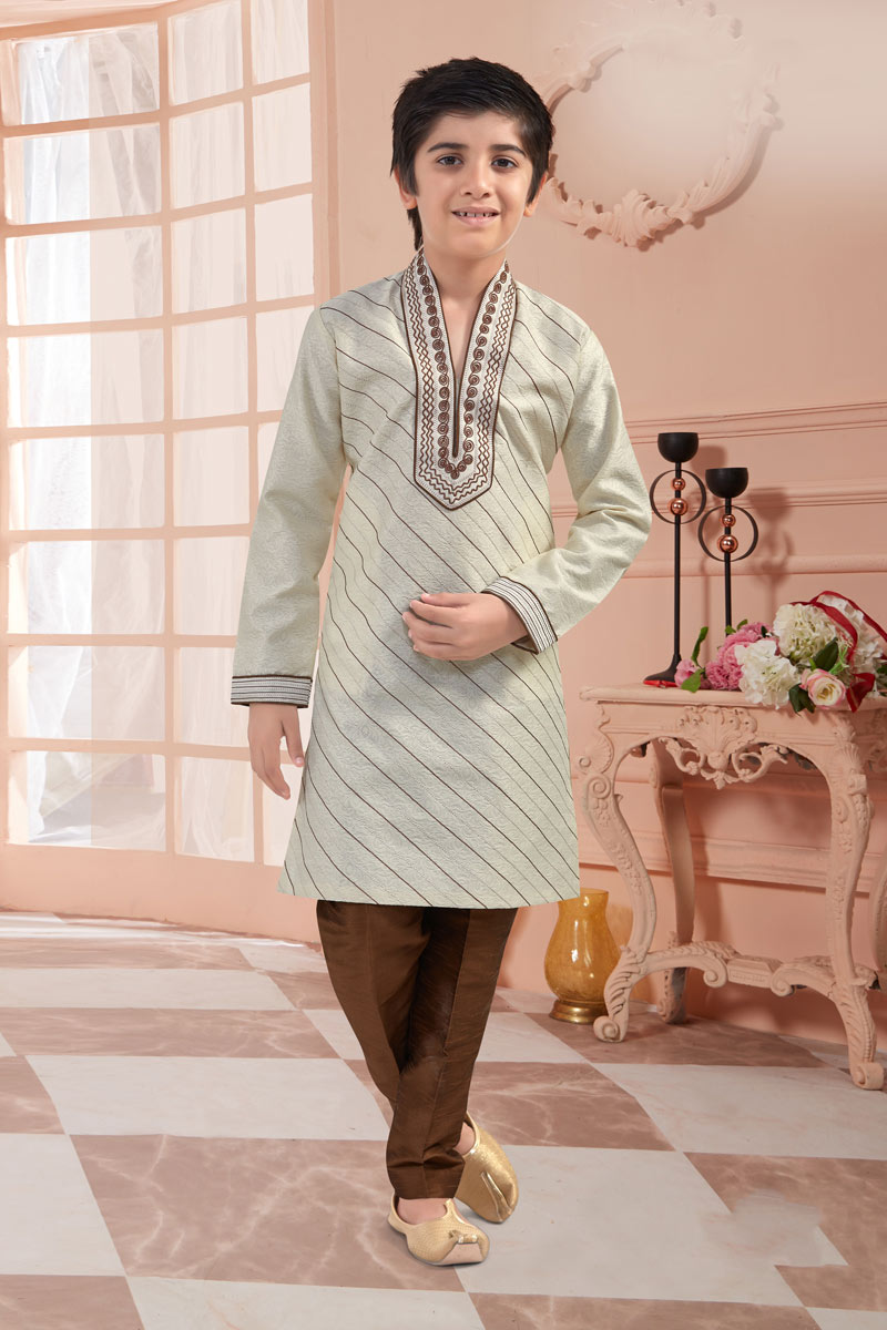 Eid Special Cream Color Occasion Wear Kurta Pyjama Set For Boys In Jacquard Fabric