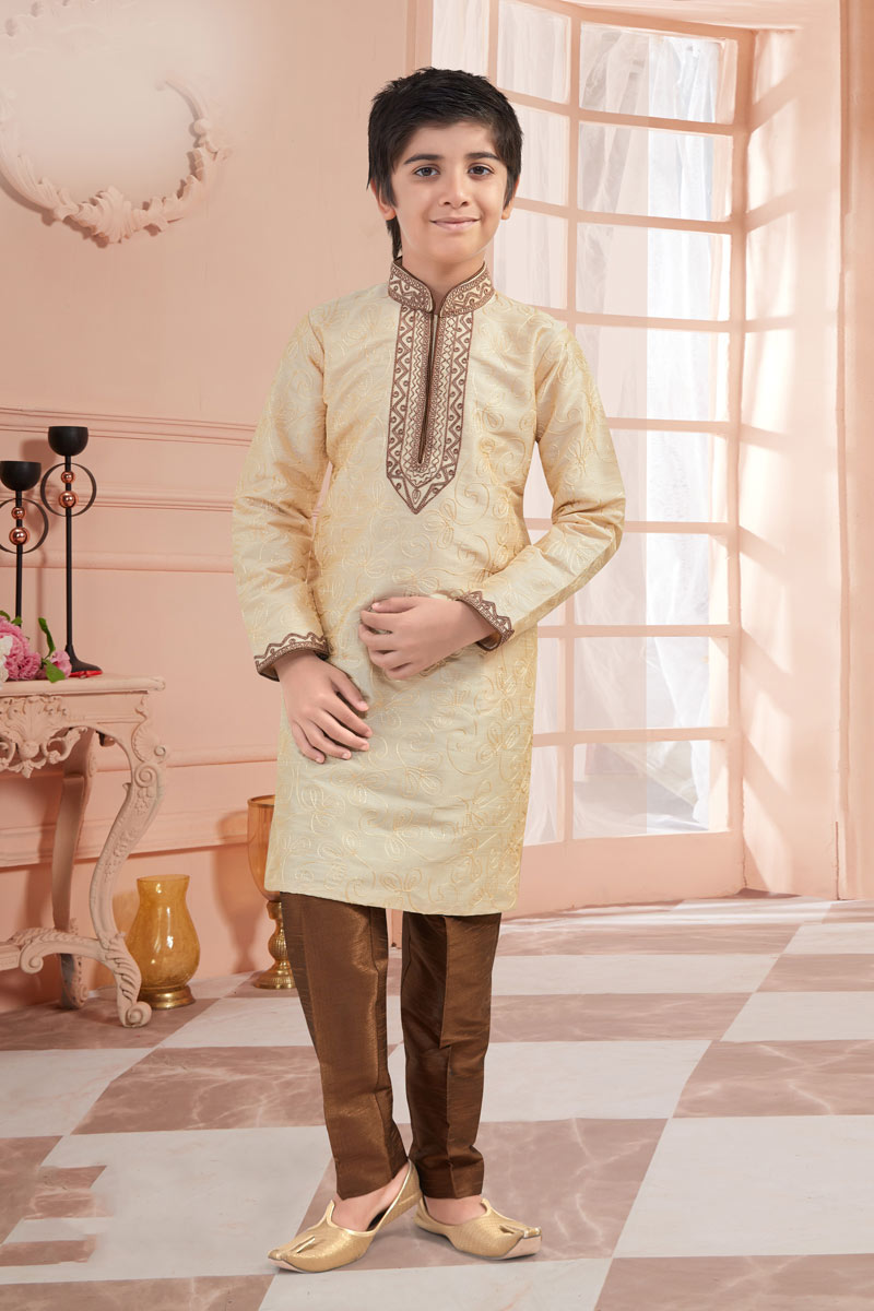 Beige Color Traditional Wear Kurta Set For Boys In Art Silk Fabric
