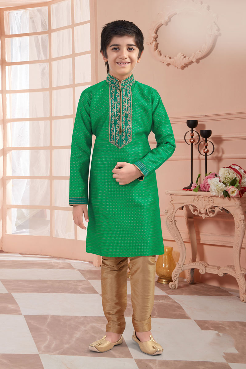 Eid Special Jacquard Fabric Traditional Wear Green Color Kurta Set For Boys