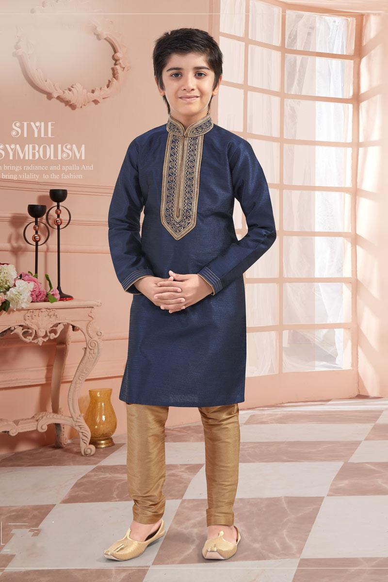 Navy Blue Color Kurta Pyjama Set For Boys In Art Silk Fabric