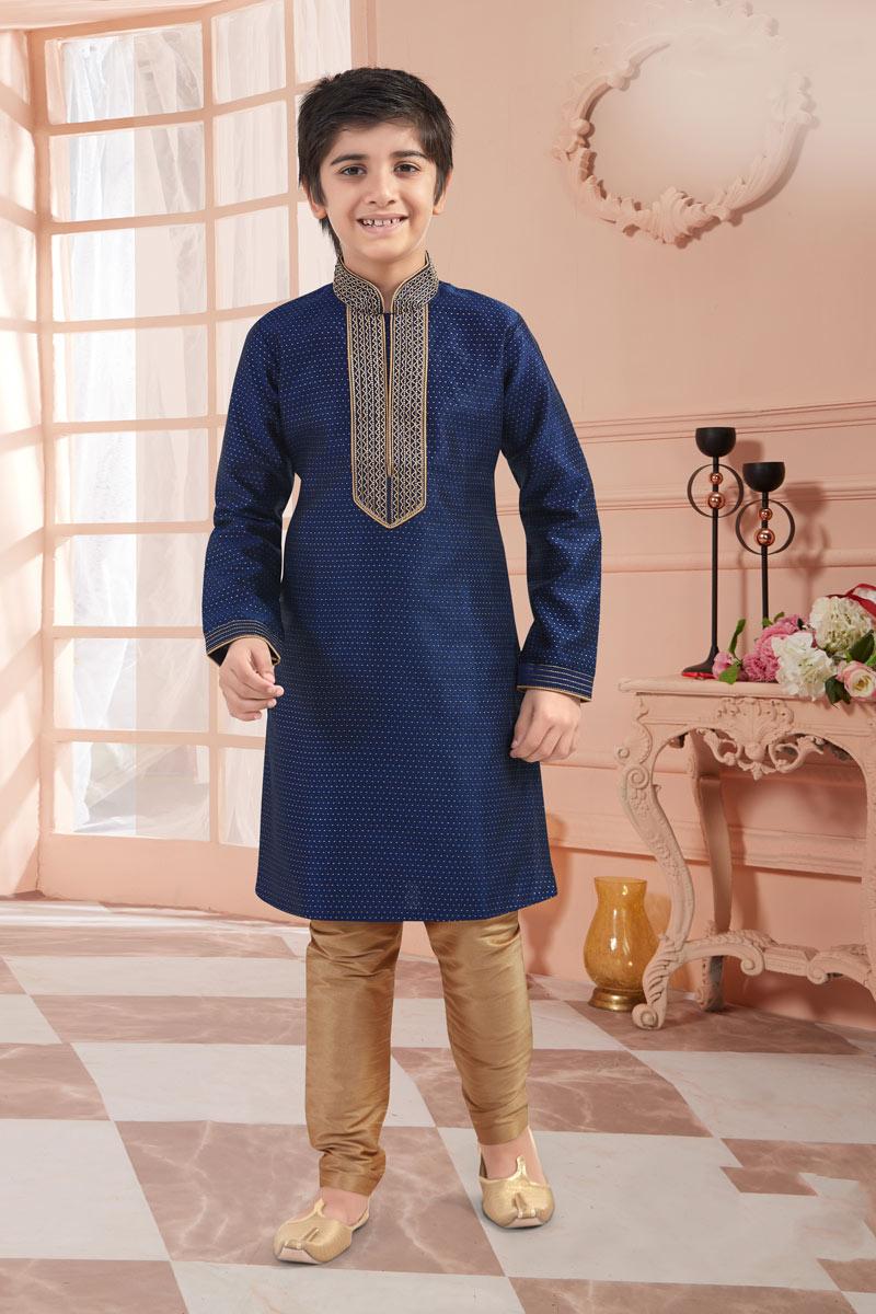 Jacquard Fabric Navy Blue Color Function Wear Boys Kurta Pyjama Set